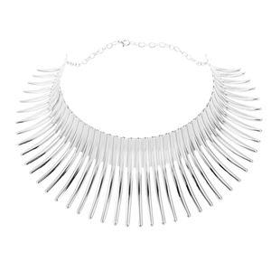 Schicke Metall Quaste Choker Kette Klobige Anweisung Bib Halskette Für Frauen Dame Farbe Silber