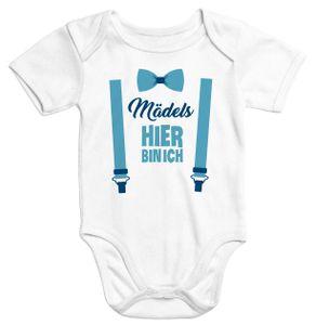 Kurzarm Baby-Body mit Aufdruck Mädels hier bin ich lustig Spruch Strampler Baumwolle Moonworks®  3-6 Monate