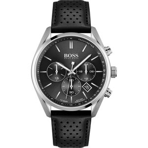 Hugo Boss Herren Chronograph Schwarz/Schwarz Leder Armbanduhr   1513816
