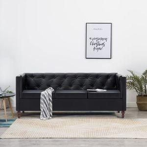 dereoir Chesterfield-Sofa 3-Sitzer Kunstlederbezug Schwarz