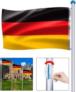 NAIZY Aluminium Fahnenmast 6,50m inkl Deutschlandfahne Flaggenmast Seilzug und Bodenhülse, Mast Flagge Alu 5 Verschiedene Höhenverstellbar