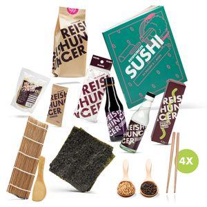 Reishunger Sushi Premium Box (13-teilig für 4 Personen) - Komplett-Set zum Sushi Selbermachen inkl. Kochbuch - Perfekt als Geschenk