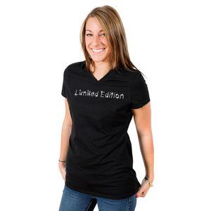 Edles Luxus Damen Shirt - LIMITED EDITION - T-Shirt veredelt mit original Kristallen von Swarovski® mit V-Ausschnitt, Farbe: Schwarz, Größe: M