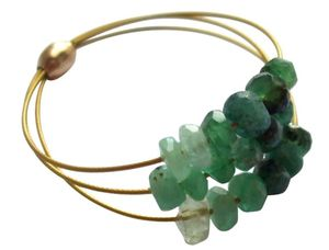 Damen Ring Vergoldet Smaragd Grün Ringgröße:50 (15.9)