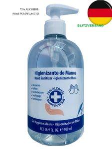 500 ml Desinfektionsmittel, Händedesinfektionsgel, Handgel, Händedesinfektionsmittel, Desinfektionsgel mit Spender Händedesinfektion Pumpflasche 75% Alcohol