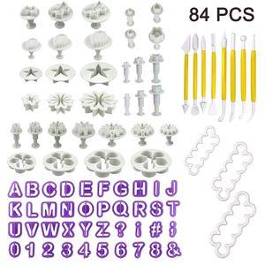 84 Teiliges Fondant Ausstecher Set Ausstechformen für Buchstaben, Zahlen, Rose Blume Formen Set Fondant Werkzeuge Auswerfer Stempel Modellierwerkzeug für Torten Deko