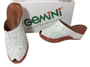GeMiNi Damen Plateau Pantolette ANILINA/KOMBI weiß/bunt gemustert 41