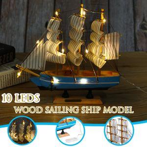 LED Holz Beleuchtete Segelschiff Modell Segelboot Schreibtisch Dekoration 20cm