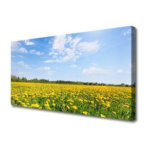Tulup Leinwand-Bilder 100x50 Wandbild Canvas Kunstdruck Löwenzahn Wiese Landschaft