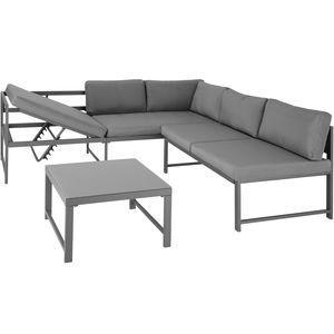 tectake Sitzgruppe Faro mit Tisch mit verstellbarer Rückenlehne - Glasplatte