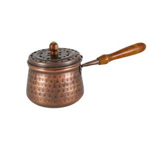 Ø 7cm Räucherpfanne Kupfer mit Holzgriff Weihrauchpfanne mit Deckel antik 3290