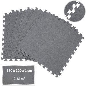 Deuba Puzzlematte 6er Set Bodenschutzmatte Teppich Look Grau Unterlegmatte EVA Schaumstoff Bodenmatte