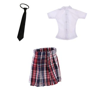 1/6 Minirock Schulmädchen-Stil Rock kariert Faltenrock + Weißes Hemd + Schwarze Krawatte für 12 Zoll Actionfiguren