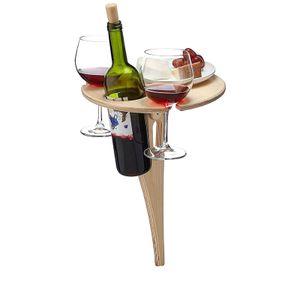 Faltbarer Tragbarer Weintisch im Freien Picknicktisch Weinglashalter Gartenausflug Ideales Weinliebhabergeschenk