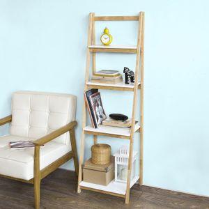 SoBuy® Leiterregal,Bücherregal, mit 4 Böden, klappbar, Kautschukholz,FRG162-N