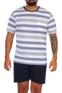 Herren Sommer Pyjama Short & Tshirt Schlaf-Anzug, Weiß XL
