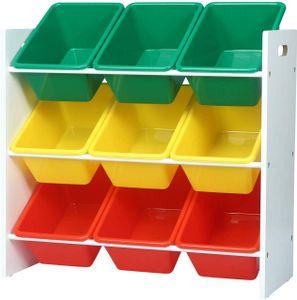 WOLTU Kinderregal Aufbewahrungsregal Spielzeug- und Bücherregal Spielzeugkiste Kinderkommode Kindermöbel 9 Kisten Mehrfarbig SPK007