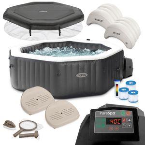 Intex Whirlpool PureSpa 28462 für 6 Personen, Bubble, Jet & Salzwassersystem Komplett-Set mit Extra-Zubehör wie: 2 Sitzkissen, Reinigungsset, Dosierschwimmer und Getränkehalter