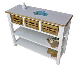 Anrichte Konsole Sideboard weiß braun antik Landhaus Küchentisch NEU MDF Holz