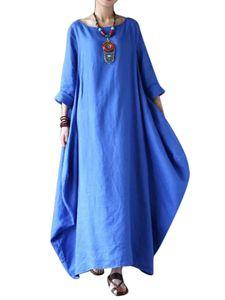 Damenkleid aus Baumwolle und Leinen mit über dem Knie langem Rock,Farbe: Blau,Größe:3XL