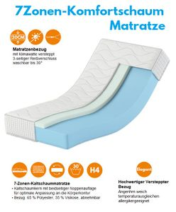 Komfortschaum Matratze 70x200 20cm Karex® Komfort H3 H4 7 Zonen Bezug mit reißverschluss Orthopädische Matratze
