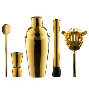 Rink Drink 5 Stück Manhattan Cocktail Shaker Set - mit Hawthorne Sieb Jigger Bar Löffel Muddler - Gold