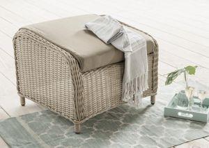 Destiny Lounge Hocker Casa Pearl Shell Palma Fußhocker Polyrattan Beinauflage