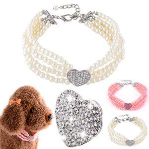Haustier Kleiner Hund Schmuck Halskette Party Perlenhalsband Mit Haustier Zubehör Für Chihuahua Yorkie, Weiß, 20CM