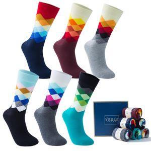 Vkele 6 Paar Karierte Gemusterte Crew Socken in Geschenkbox Gr. 43-46