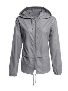 Wasserdichte Jacke für Damen Regenmantel Windjacke Windbreaker Zip Pocket Jacket,Farbe: dunkelgrau,Größe:XXL