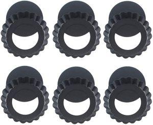 Tarteform Mit Hebeboden Ø 10 cm Mini Quicheform Gute Antihaftbeschichtung Pie Form Backform Wellenrand, schnittfest, servierfertig - Set von 6