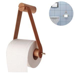 Toilettenpapierhalter Holz, Klopapierrollenhalter für WC Badezimmer Retro Wandhalterung Rollenhalter Bad Vintage Deko