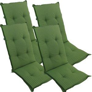 4er Set Hochlehnerauflage Naxos Florence 120 x 50 x 6 cm Grün fein kariert  für Gartenstühle 118 x 49 x 6 cm – Premium Stuhlauflage mit Komfortschaumkern und Bezug aus 100% Baumwolle – Sitzauflage  EU mit 100