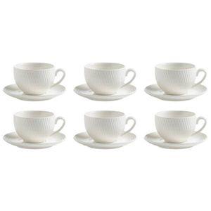 6er SET Espressotassen mit Untertasse DIAMONDS ROUND weiß Maxwell & Williams