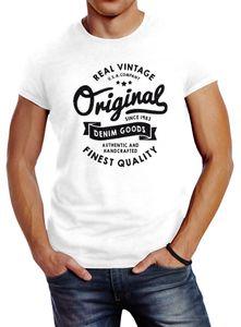 cooles Herren T-Shirt Original Denim Goods Vintage Druck Original Slim Fit Neverless® weiß 4XL