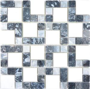 Marmor Mosaik Stein schwarz grau weiß Mosaikfliese Wand Fliesenspiegel Küche Bad