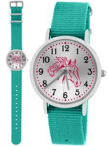 Pacific Time Kinder Armbanduhr Pferd rosa Nylonarmband 16mm Wechselarmband türkis 86529