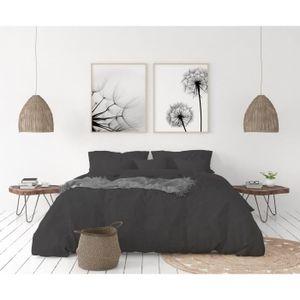 LOVELY HOME Bettwäscheset aus 100% Leinen 220x240cm + 2 Kissenbezüge 65x65cm - Farbe Anthrazitgrau