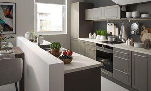 Küchenzeile 240cm lava / dust grey Küchenblock Modern Küche Komplett