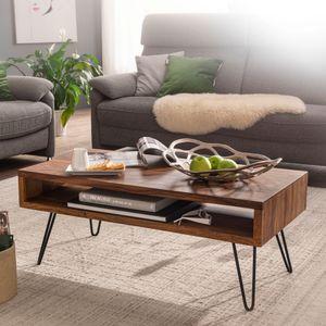 WOHNLING Couchtisch 100x40x50 cm Sheesham Massivholz / Metall Sofatisch | Design Wohnzimmertisch Rechteckig | Kaffeetisch Massiv | Großer Tisch Wohnzimmer