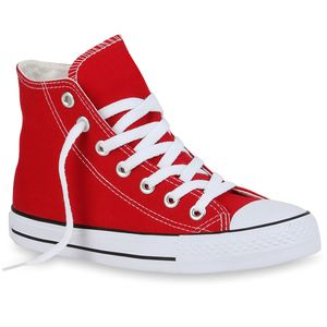 Mytrendshoe Damen Sneakers High Top Kult Schuhe Sportschuhe Schnürer 94438, Farbe: Rot, Größe: 36