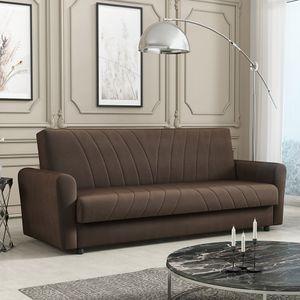 Mirjan24 Schlafsofa Lea, Stilvoll Polstersofa vom Hersteller, Couch mit Bettkasten und Schlaffunktion (Farbe: Zanzibar 135)