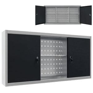 vidaXL Wand-Werkzeugschrank Industrie-Stil Metall Grau und Schwarz