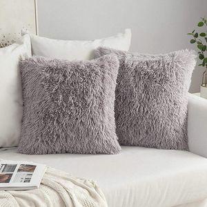 2er Set Fellkissen Dekorative Dekokissen Kissen Fall für Sofa Schlafzimmer 40x40 cm Grau