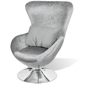 vidaXL Sessel in Ei-Form Silbern