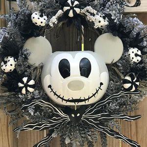 Türkranz mit Kürbis Mickey für Halloween, Künstlicher Herbstkranz Gruselige Micky Maus, Gruselige Gespensterdekoration für den Urlaub für Halloween, Outdoor,  Garten