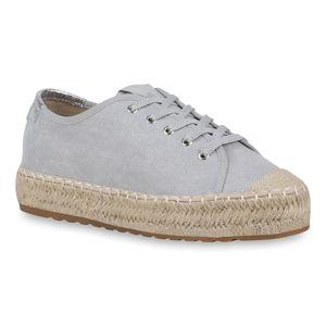 Mytrendshoe Damen Halbschuhe Plateauschuhe Metallic Schnürer Freizeit Schuhe 822614, Farbe: Grau, Größe: 37