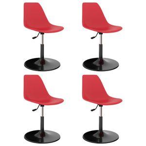 Drehbare Eleganter- 4er Set Esszimmerstuhl,Küchenstuhl,Bürostuhl,Wohnzimmerstuhl,Retro Design Rot PP🍒6289