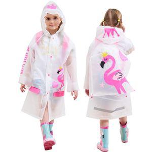 Kinder Regenmantel mit Kapuze Jungen Mädchen Regenjacke Regenfestes Poncho Wasserdichte Regencape Wiederverwendbar Regenanzug, Flamingo
