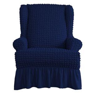 Sesselbezug Ohrensessel Sesselhusse Stretch Schonbezug Couchhusse Sofabezug Stretchhusse Einheitsgröße Blau Einfarbig mit Rüschenröcken